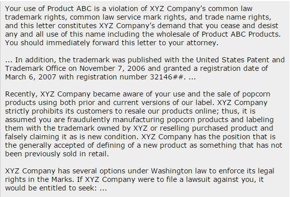 Example of a product violation email