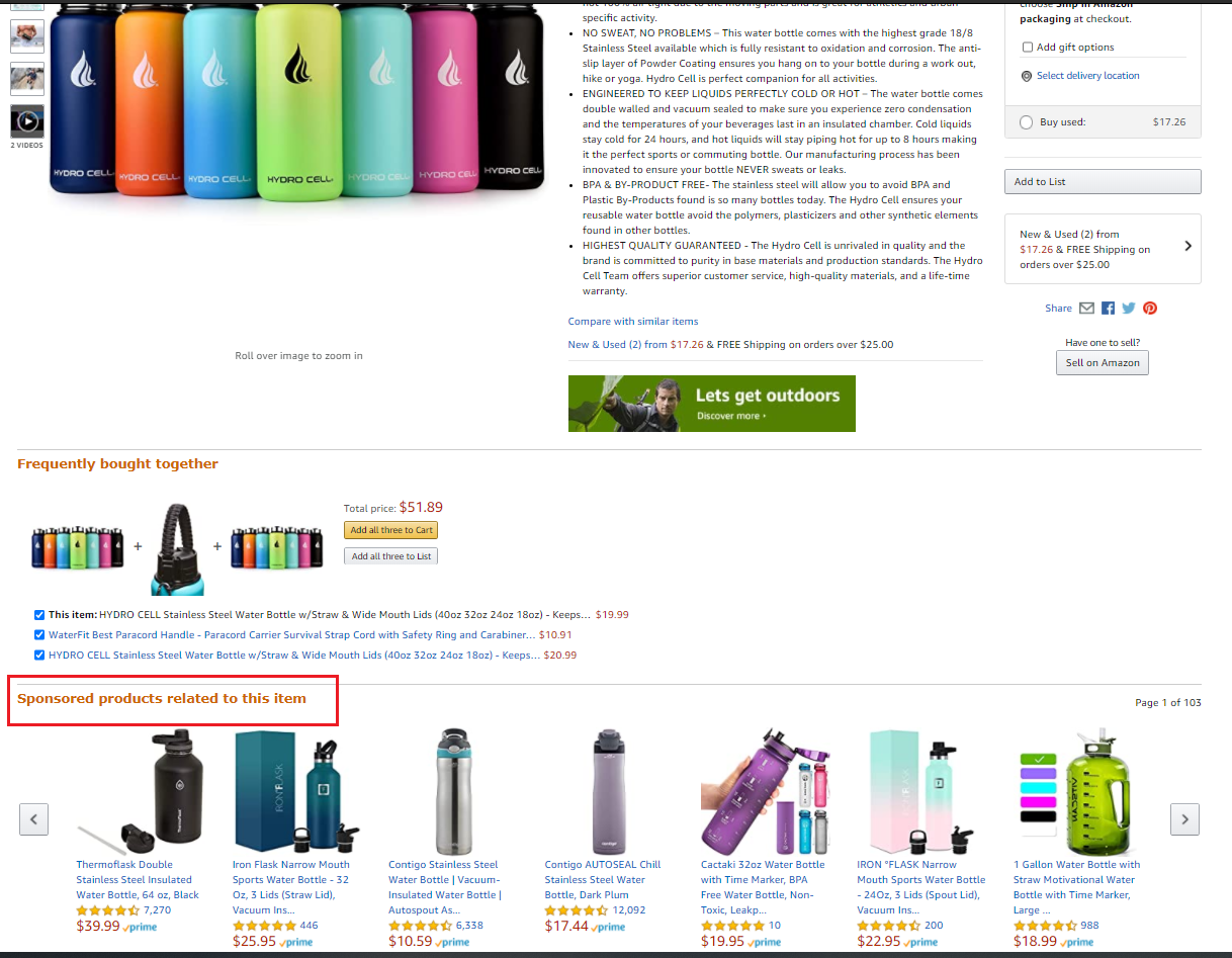 The sponsored products bar on Amazon listings
