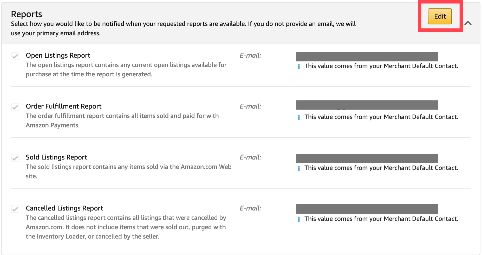 Screenshot of Seller Central's page where you can select your Reports notification preferences.