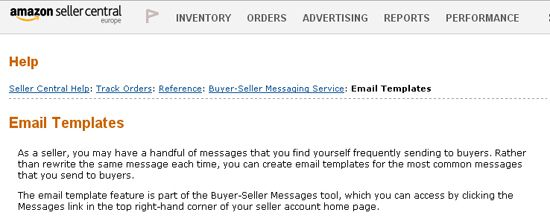 Screenshot of the Email Templates area within Amazon Seller Central.