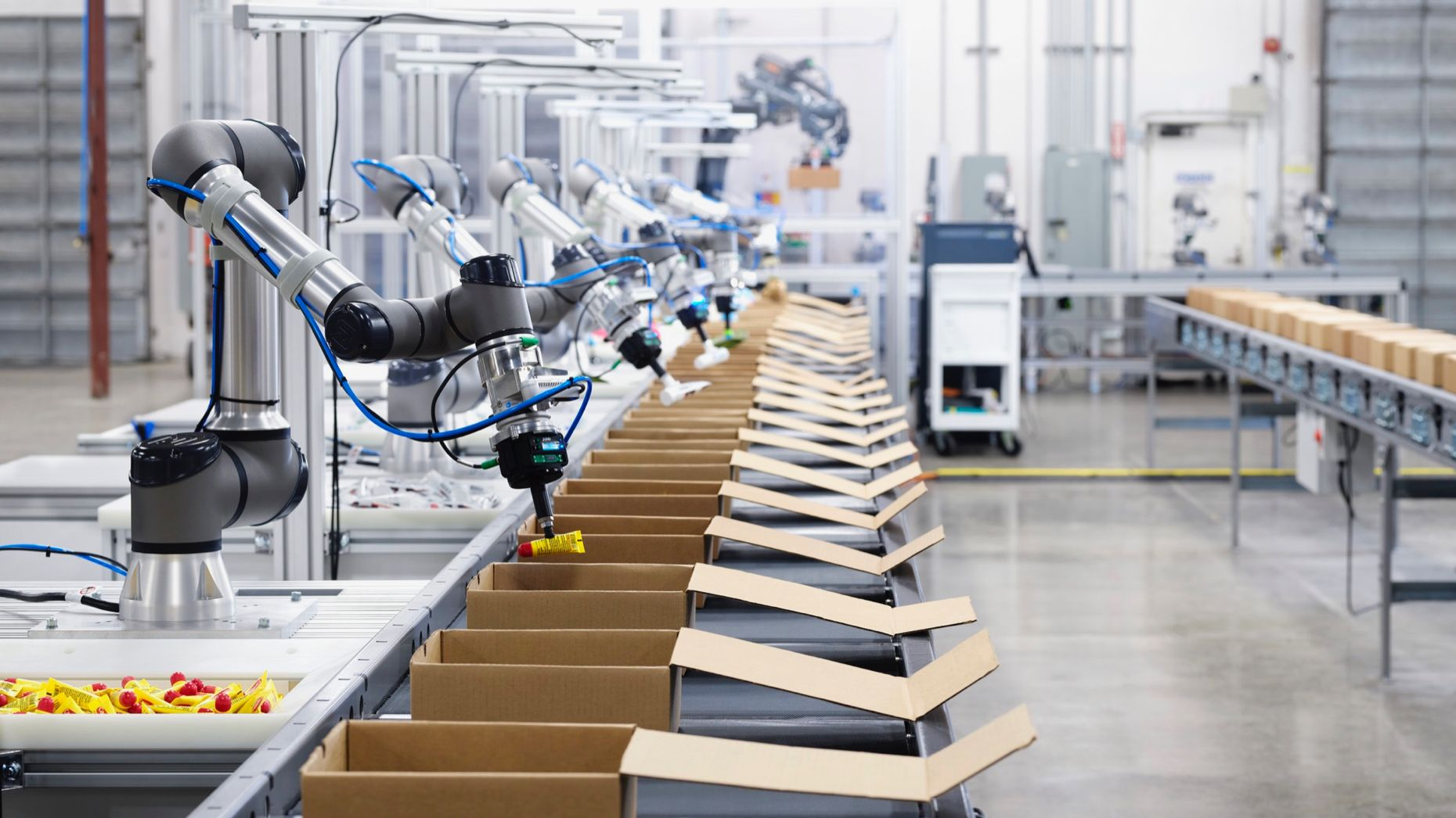 Image of mechanical robots picking and packing products into boxes.