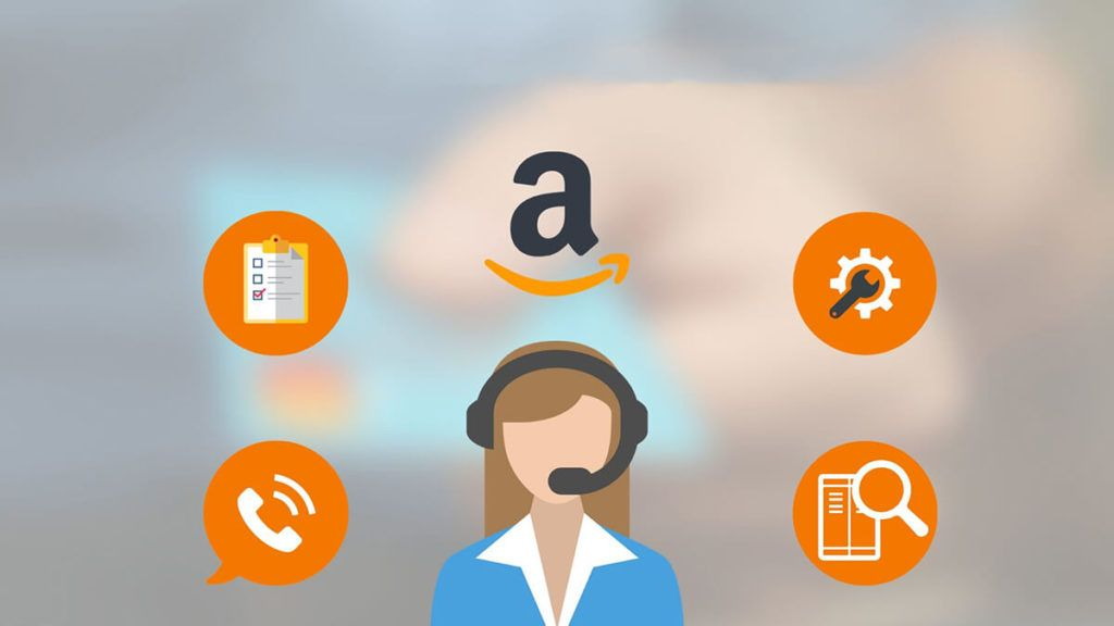 Cartoon graphic illustrating an Amazon Virtual Assistant with various task icons.