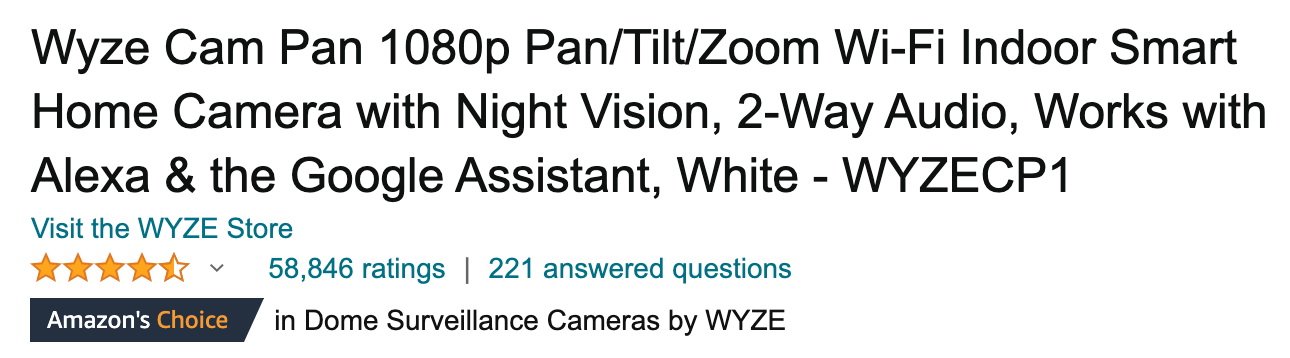 Amazon product listing title example for a Wyze home security camera