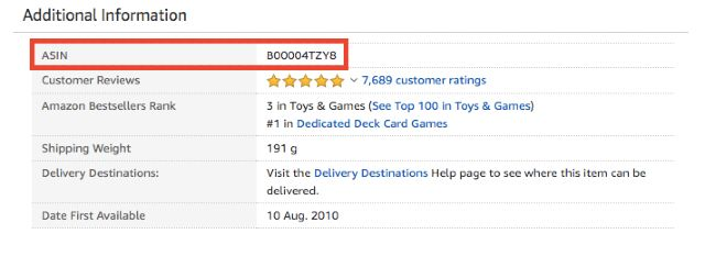 Screenshot of an Amazon listing page with the ASIN highlighted