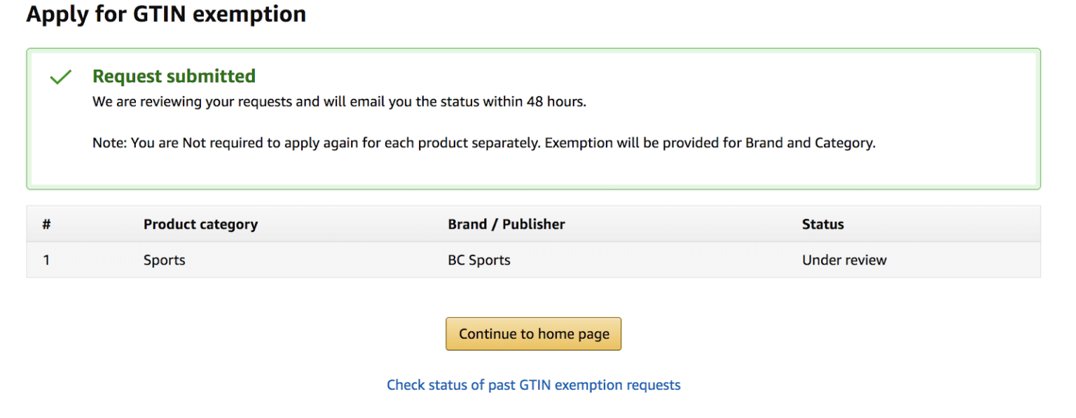 Screenshot of Seller Central's wizard to apply for a GTIN Exemption