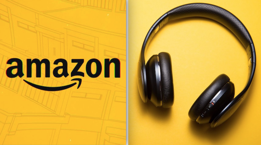 Image of the Amazon logo and a pair of headphones