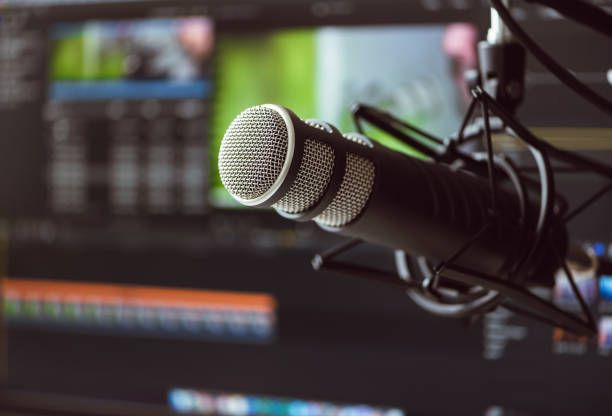 Stock image of a professional grade microphone for podcasts