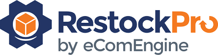 Computer generated logo for RestockPro by eComEngine, in blue and orange