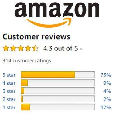Screenshot of amazon logo and review bars