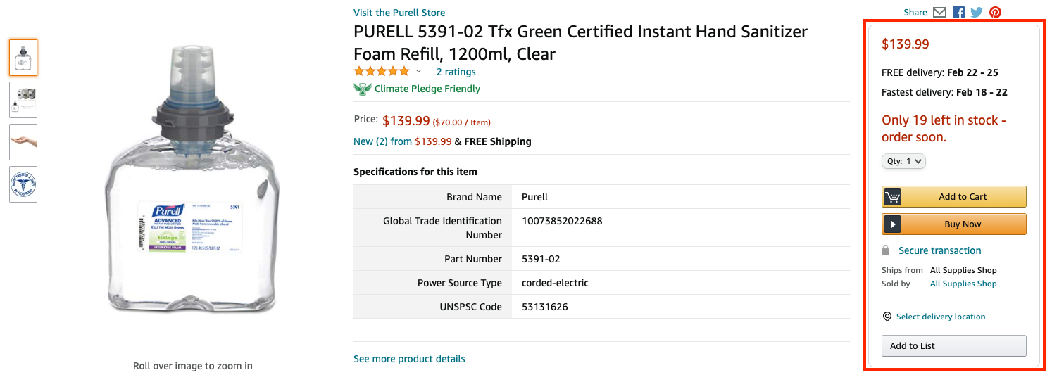 Screenshot of an Amazon product page, with Buy Box highlighted in red