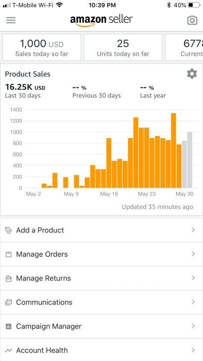Amazon Seller app screenshot
