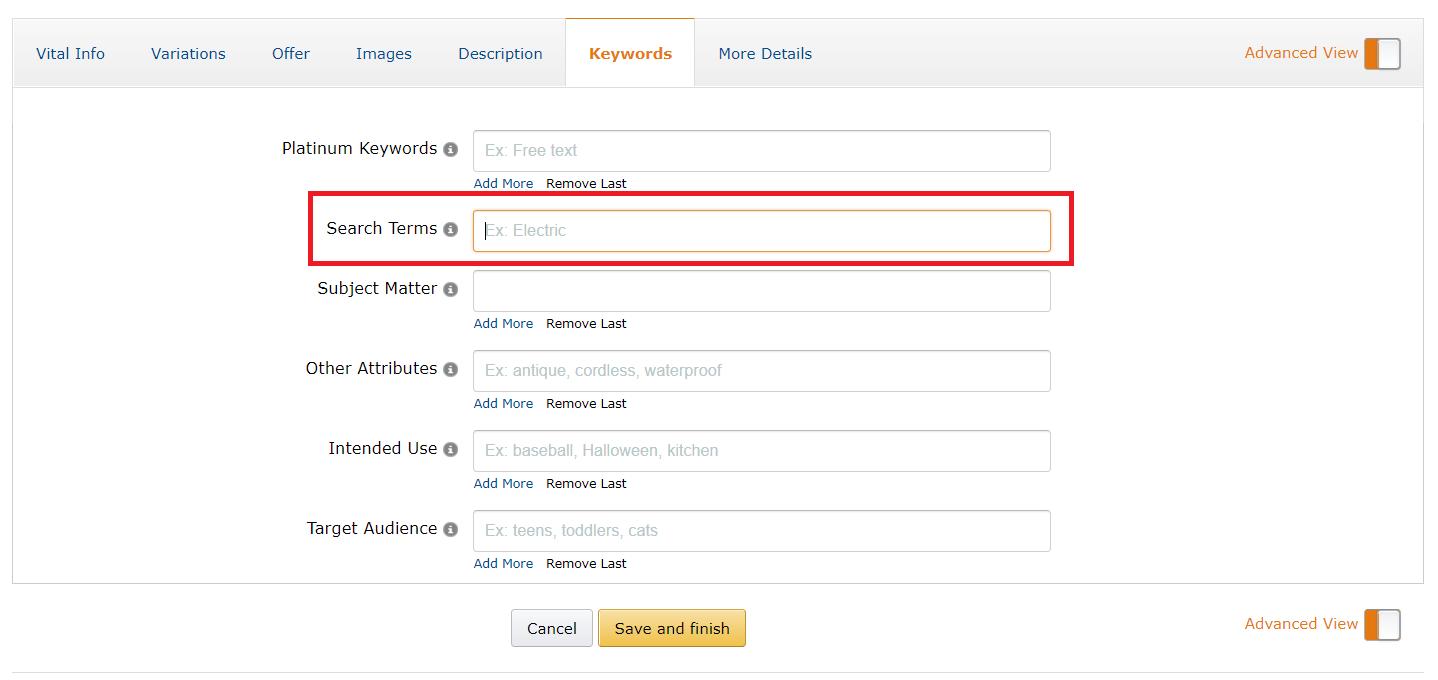 Amazon backend keyword