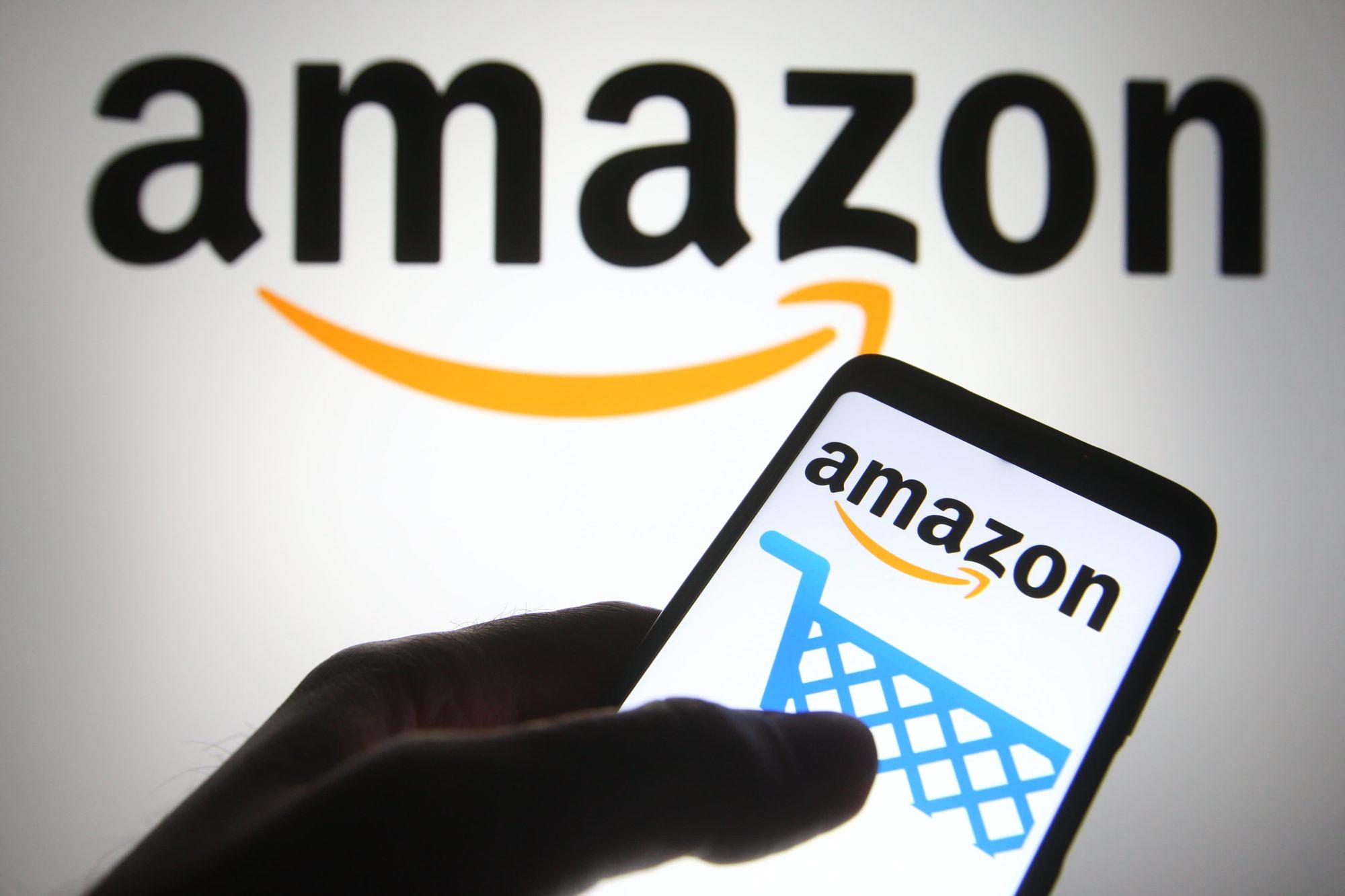 Amazon logo with mobile phone app
