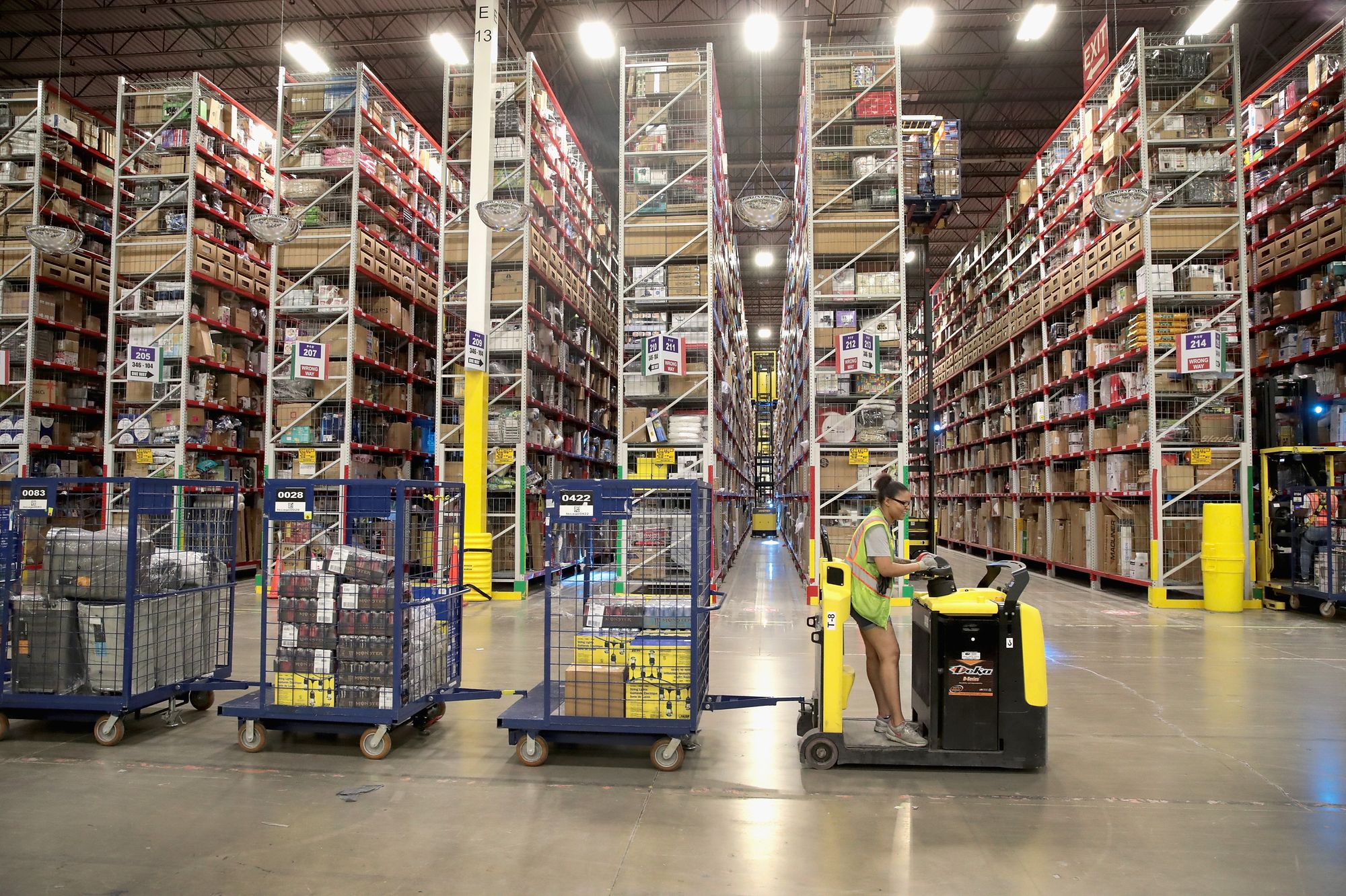 Amazon warehouse with trolly