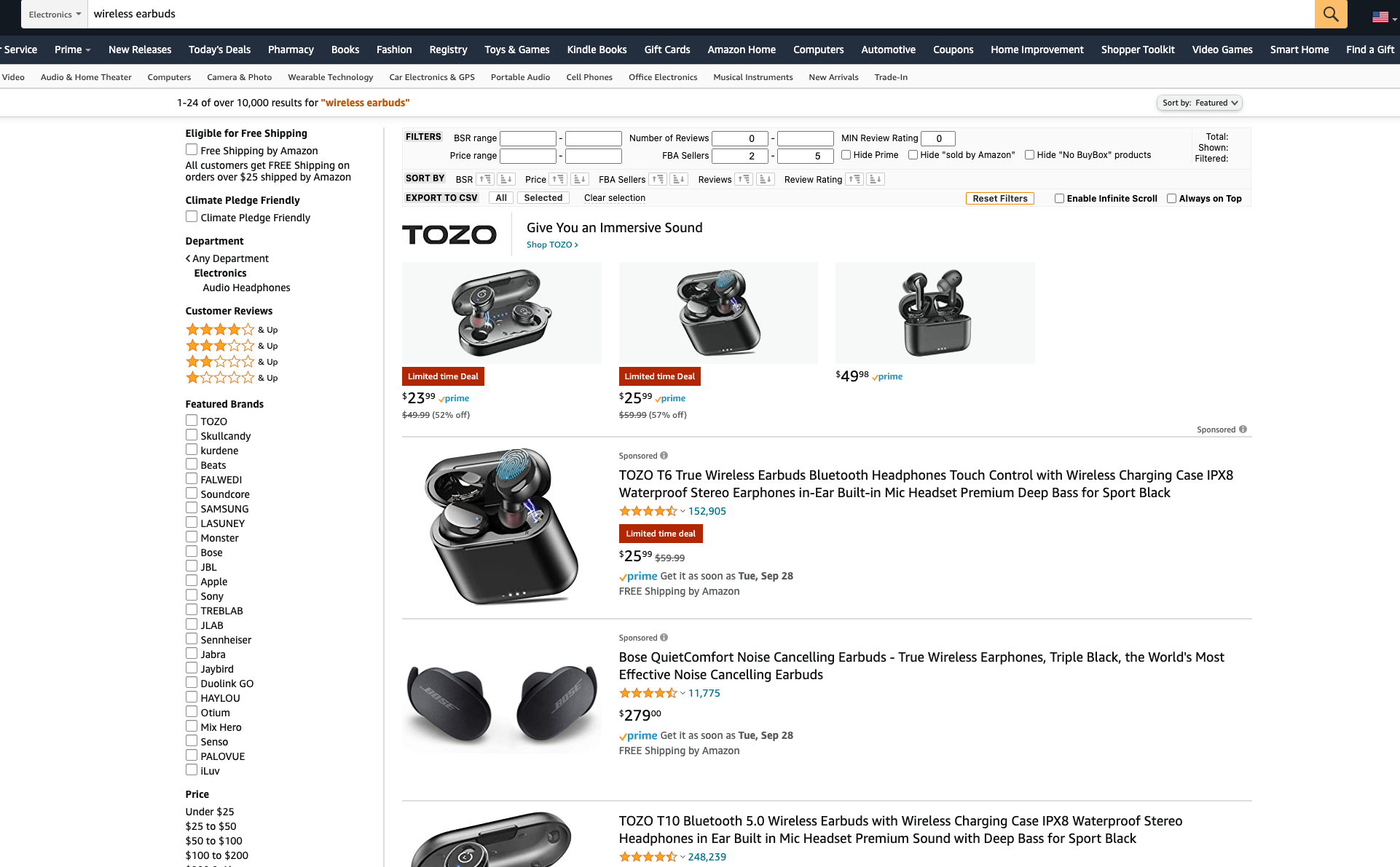 wireless earbud search result